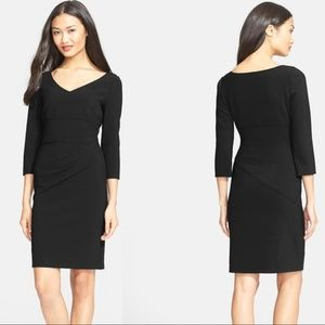 DVF Bevin 3/4 Sleeve Ruched Sheath Dress LBD